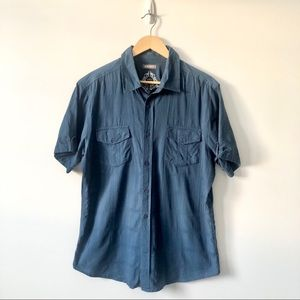 Brody Regular Fit Blue Short Sleeve Button Down S